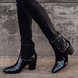 Valine Black Patent Mid-Calf Boots Size 8.5